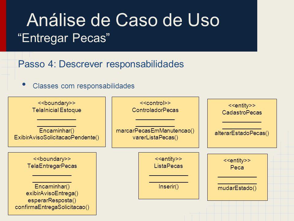 Passo 4: Descrever responsabilidades Classes com responsabilidades > CadastroPecas ____________ alterarEstadoPecas() > TelaInicial Estoque ___________