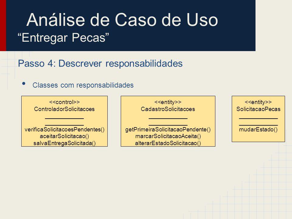 Passo 4: Descrever responsabilidades Classes com responsabilidades > ControladorSolicitacoes ____________ verificaSolicitacoesPendentes() aceitarSolic