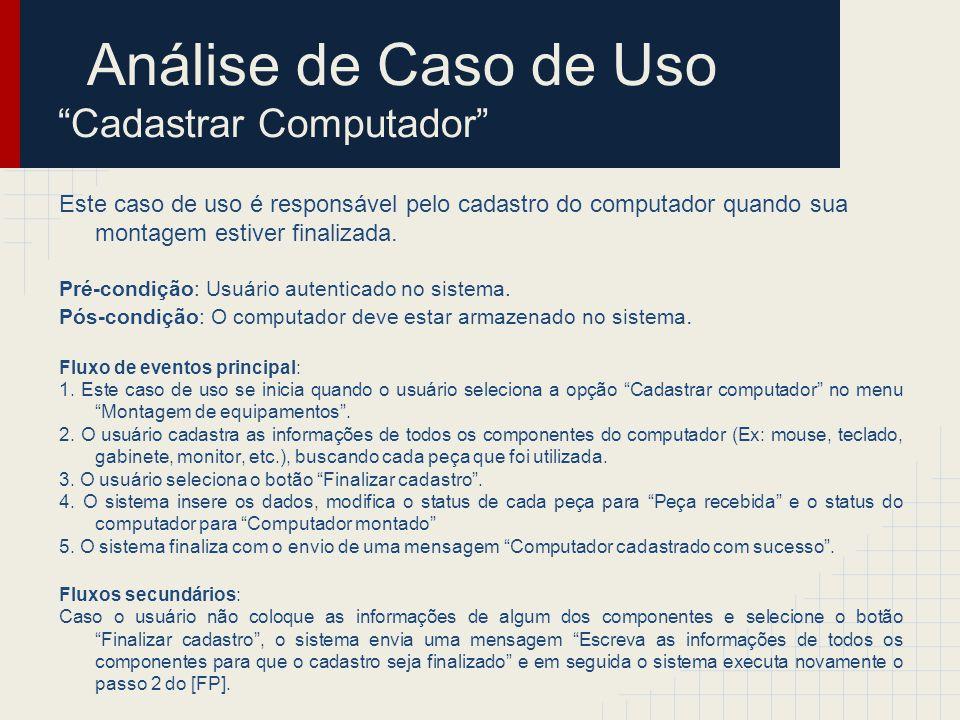 Análise de Caso de Uso Cadastrar Computador Passo 1: Encontrar classes de análise Classes de Fronteira o TelaCadastrarPC Classes de Entidade o Computador o Peça Classes de Controle o ControleCadastrarPC > Computador ____________ > TelaCadastrarPC ____________ > Controle CadastrarPC ____________ > Peça ____________
