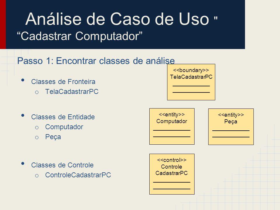 Análise de Caso de Uso Cadastrar Computador Passo 2: Identificar persistência Classes de Fronteira o TelaCadastrarPC Classes de Entidade o Computador o Peça Classes de Controle o ControleCadastrarPC > Computador ____________ > Peça ____________