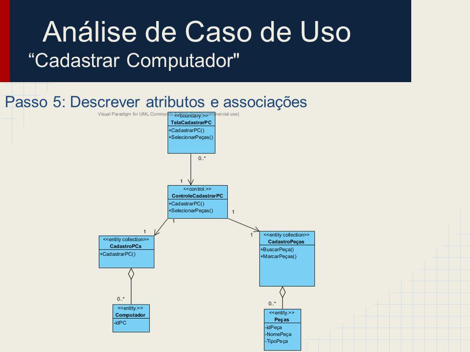 Análise de Caso de Uso Finalizar Computador Este caso de uso é responsável por modificar o status de um computador em fase de montagem/testes para o status Finalizado .