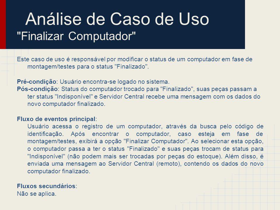 Análise de Caso de Uso Finalizar Computador Passo 1: Encontrar classes de análise Classes de Fronteira o TelaMostrarPC o ComunicaçãoServidorCentral Classes de Entidade o Usuário (apenas interage) o Computador o Peça Classes de Controle o ControleFinalizaçãoPC > Computador ____________ > TelaMostrarPC ____________ > Comunicação ServidorCentral ____________ > Controle FinalizaçãoPC ____________ > Peça ____________