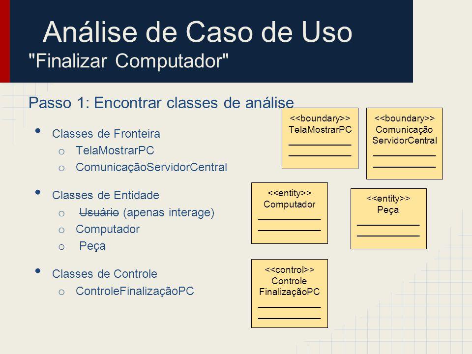 Análise de Caso de Uso Finalizar Computador Passo 2: Identificar persistência Classes de Fronteira o TelaMostrarPC o ComunicaçãoServidorCentral Classes de Entidade o Computador o Peça Classes de Controle o ControleFinalizaçãoPC > Computador ____________ > Peça ____________