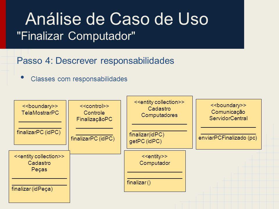 Análise de Caso de Uso Finalizar Computador Passo 5: Descrever atributos e associações