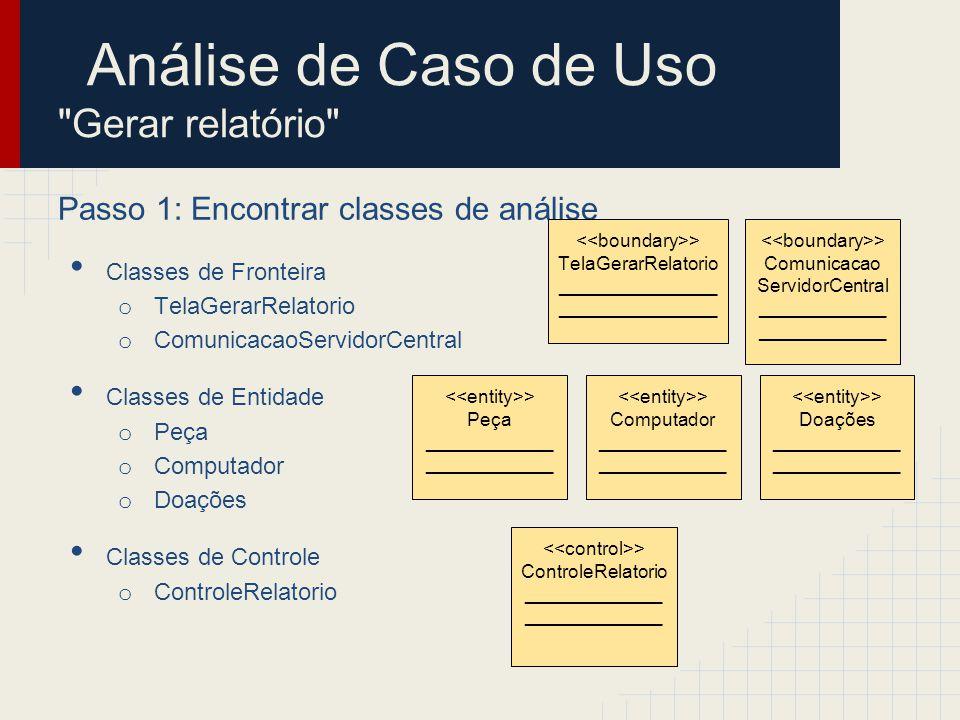 Análise de Caso de Uso Gerar relatório Passo 2: Identificar persistência Classes de Fronteira o TelaGerarRelatorio o ComunicacaoServidorCentral Classes de Entidade o Peça o Computador o Doações Classes de Controle o ControleRelatorio > Peça ____________ > Computador ____________ > Doações ____________