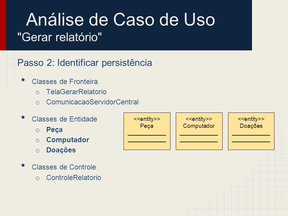 Análise de Caso de Uso Gerar relatório Passo 2: Identificar persistência Classes de Fronteira o TelaGerarRelatorio o ComunicacaoServidorCentral Classes de Entidade o Peça o Computador o Doações Classes de Controle o ControleRelatorio > Cadastro Computadores ________________ > Peça ____________ > Computador ____________ > Doações ____________ > Cadastro Peças ________________ > Cadastro Doações ________________