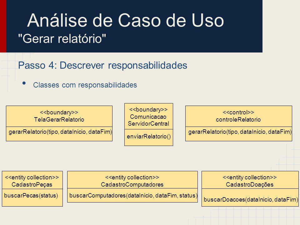 Análise de Caso de Uso Gerar relatório Passo 5: Descrever atributos e associações