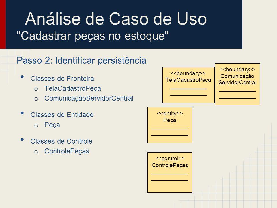 Análise de Caso de Uso Cadastrar peças no estoque Passo 2: Identificar persistência Classes de Fronteira o TelaCadastroPeça o ComunicaçãoServidorCentral Classes de Entidade o Peça Classes de Controle o ControlePeças > Peça ____________