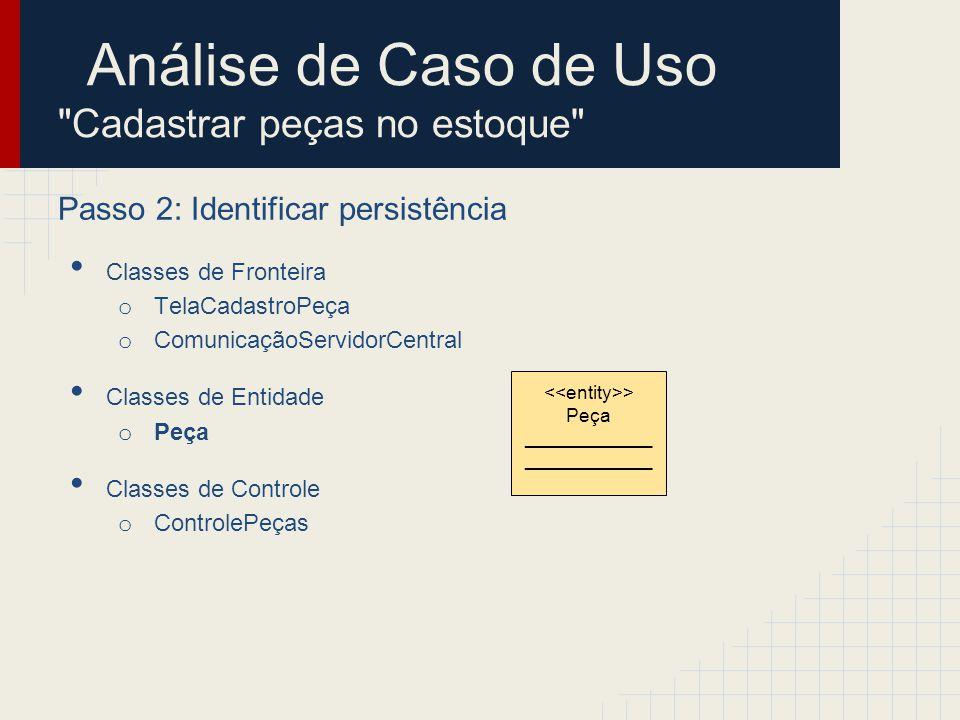 Análise de Caso de Uso Cadastrar peças no estoque Passo 2: Identificar persistência Classes de Fronteira o TelaCadastroPeça o ComunicaçãoServidorCentral Classes de Entidade o Peça Classes de Controle o ControlePeças > Peça ____________ > Cadastro Peças ________________