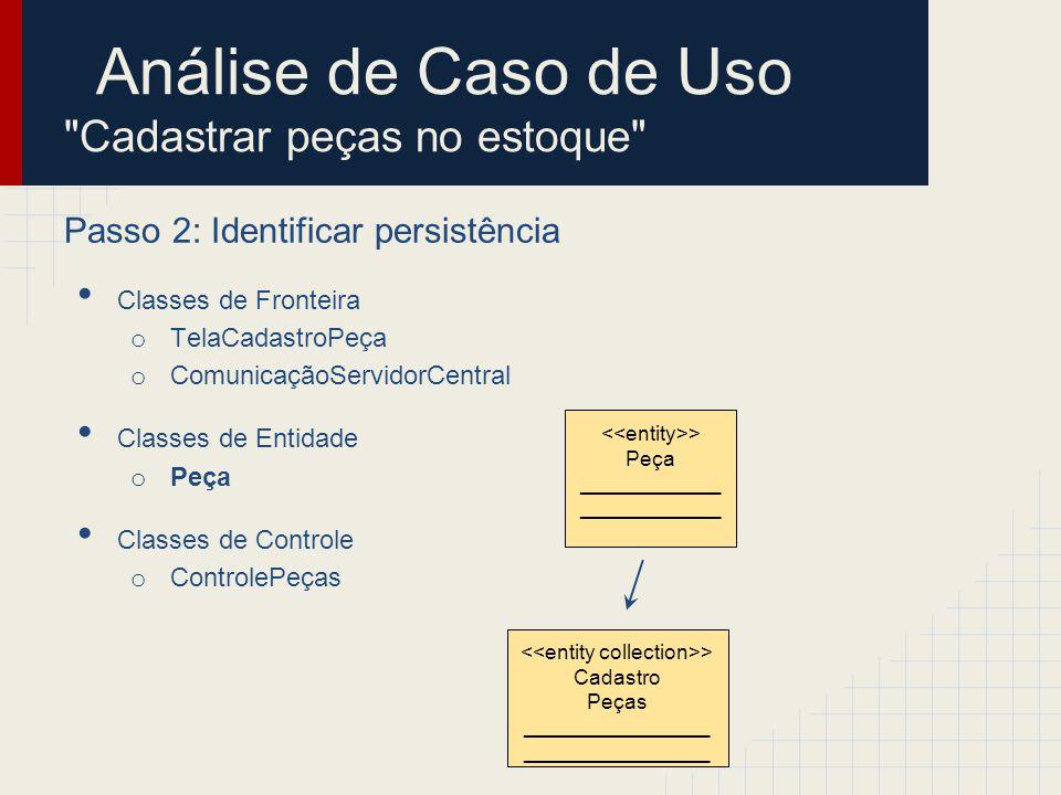 Análise de Caso de Uso Cadastrar peças no estoque Passo 3: Distribuir comportamento entre as classes Diagrama de sequência