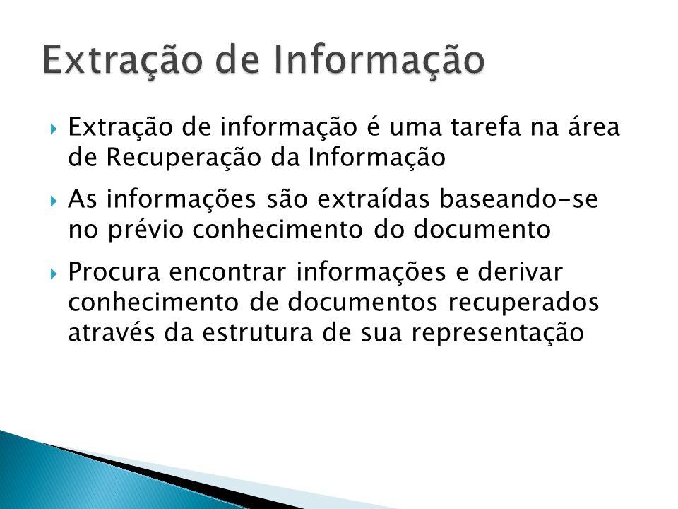 Extração de informação é uma tarefa na área de Recuperação da Informação As informações são extraídas baseando-se no prévio conhecimento do documento Procura encontrar informações e derivar conhecimento de documentos recuperados através da estrutura de sua representação