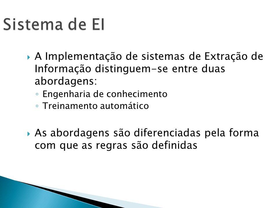 A Implementação de sistemas de Extração de Informação distinguem-se entre duas abordagens: Engenharia de conhecimento Treinamento automático As abordagens são diferenciadas pela forma com que as regras são definidas Sistema de EI