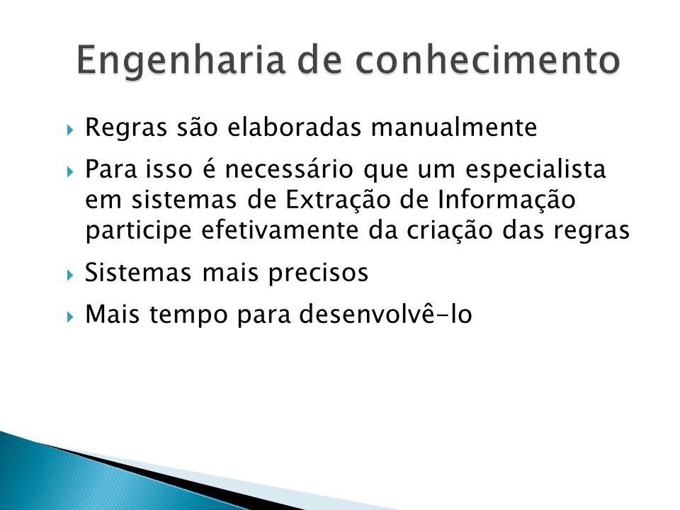 Regras são elaboradas manualmente Para isso é necessário que um especialista em sistemas de Extração de Informação participe efetivamente da criação das regras Sistemas mais precisos Mais tempo para desenvolvê-lo Engenharia de conhecimento