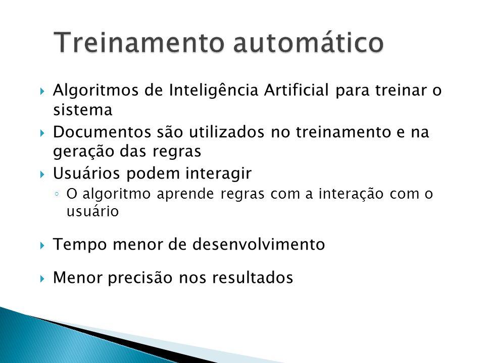 Algoritmos de Inteligência Artificial para treinar o sistema Documentos são utilizados no treinamento e na geração das regras Usuários podem interagir O algoritmo aprende regras com a interação com o usuário Tempo menor de desenvolvimento Menor precisão nos resultados Treinamento automático