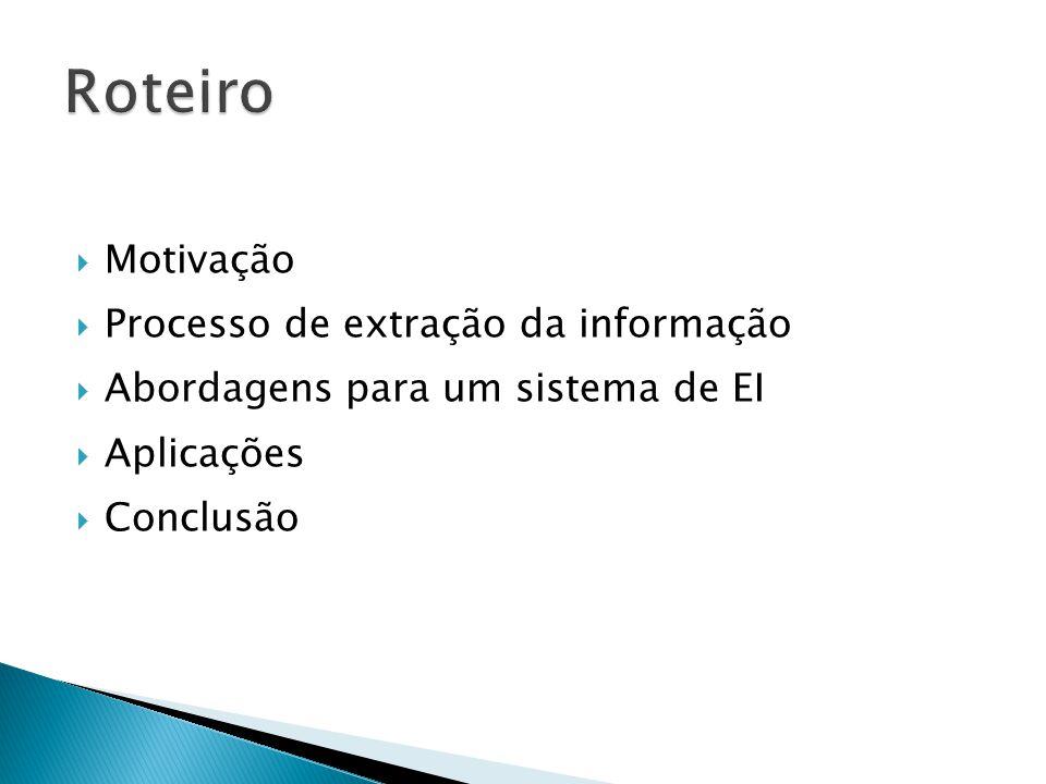 Motivação Processo de extração da informação Abordagens para um sistema de EI Aplicações Conclusão