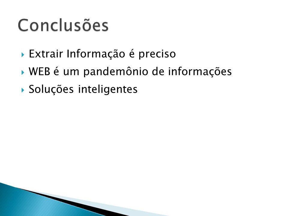 Extrair Informação é preciso WEB é um pandemônio de informações Soluções inteligentes