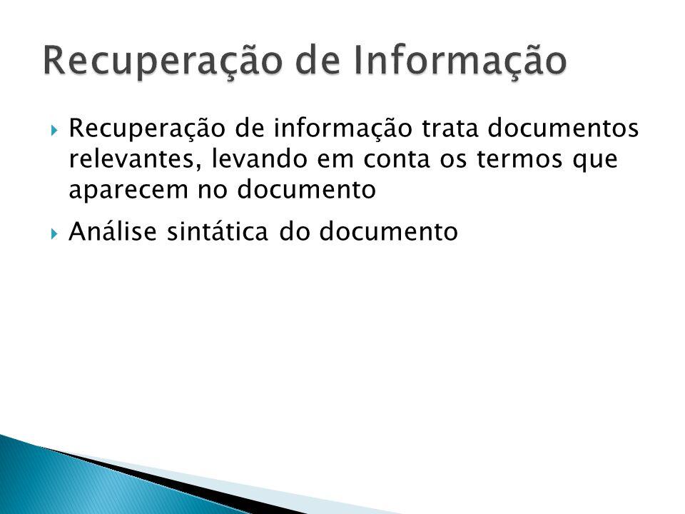 Recuperação de informação trata documentos relevantes, levando em conta os termos que aparecem no documento Análise sintática do documento