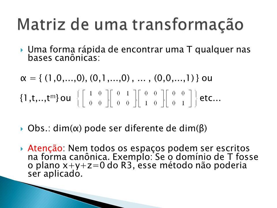 Uma forma rápida de encontrar uma T qualquer nas bases canônicas: α = { (1,0,...,0), (0,1,...,0),..., (0,0,...,1) } ou {1,t,..,t m } ou etc... Obs.: d