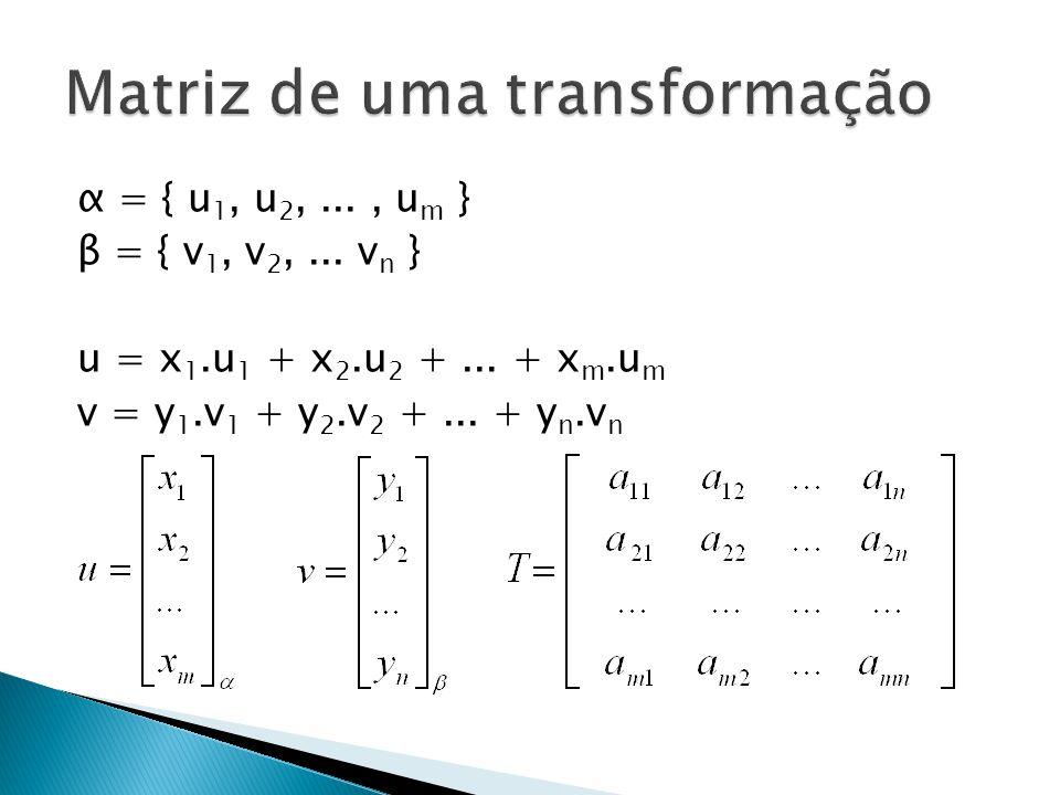 E dessa forma, podemos escrever facilmente a matriz de transformação linear nas bases canônicas a parti de sua representação de costume: Ex: T(x,y,z) = (x + y – z, y, -x+2z)