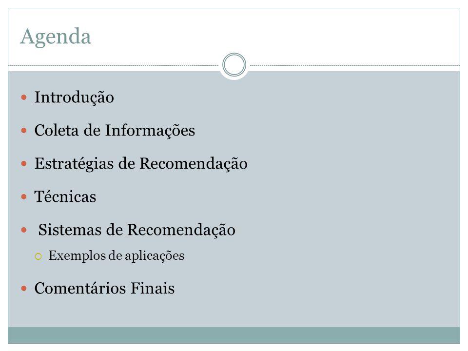 Agenda Introdução Coleta de Informações Estratégias de Recomendação Técnicas Sistemas de Recomendação Exemplos de aplicações Comentários Finais