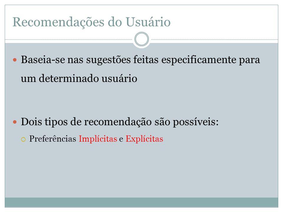 Recomendações do Usuário Baseia-se nas sugestões feitas especificamente para um determinado usuário Dois tipos de recomendação são possíveis: Preferên