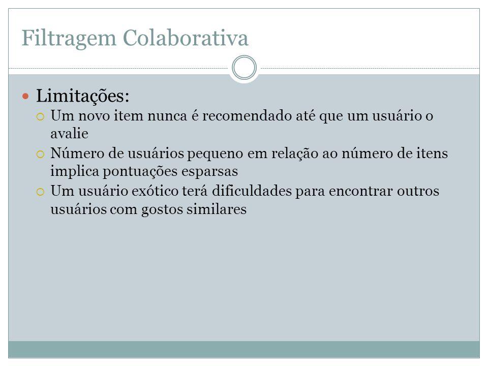 Filtragem Colaborativa Limitações: Um novo item nunca é recomendado até que um usuário o avalie Número de usuários pequeno em relação ao número de ite