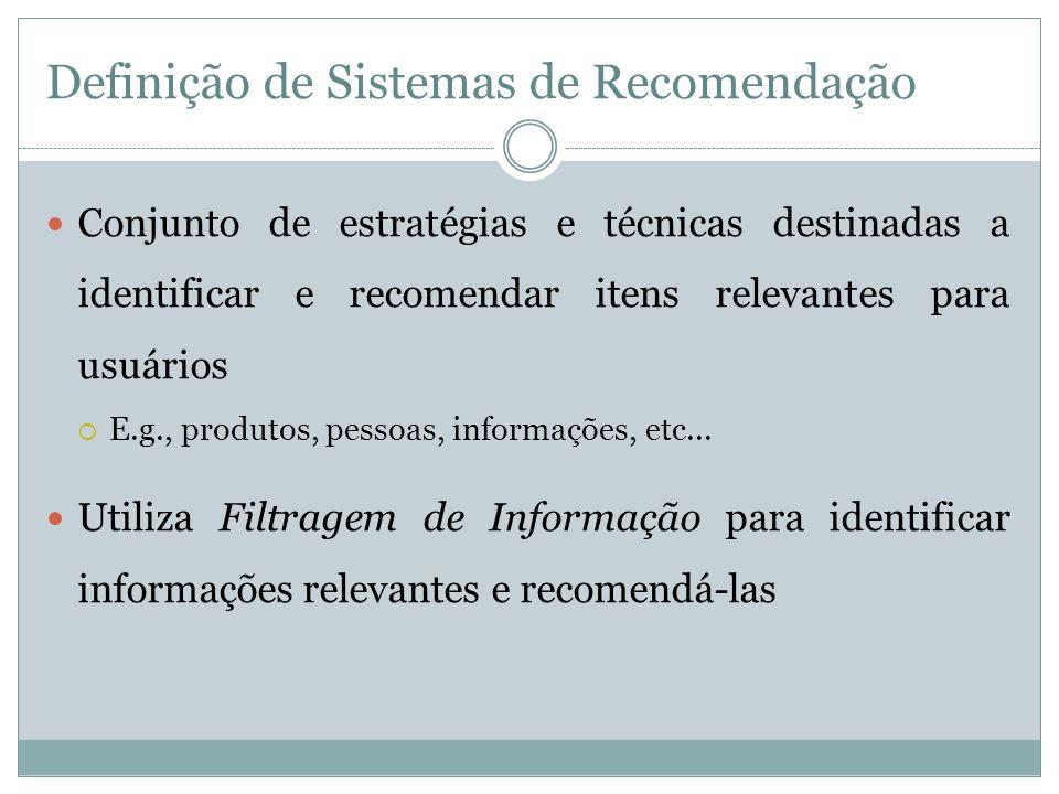 Definição de Sistemas de Recomendação Conjunto de estratégias e técnicas destinadas a identificar e recomendar itens relevantes para usuários E.g., pr