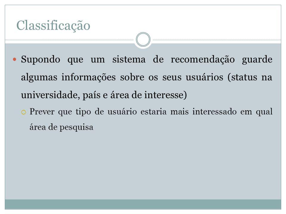 Classificação Supondo que um sistema de recomendação guarde algumas informações sobre os seus usuários (status na universidade, país e área de interes