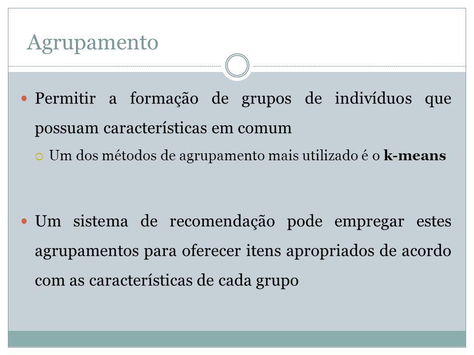Agrupamento Permitir a formação de grupos de indivíduos que possuam características em comum Um dos métodos de agrupamento mais utilizado é o k-means