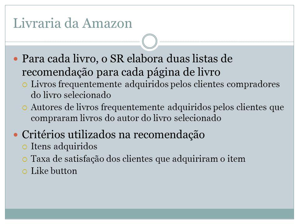 Livraria da Amazon Para cada livro, o SR elabora duas listas de recomendação para cada página de livro Livros frequentemente adquiridos pelos clientes