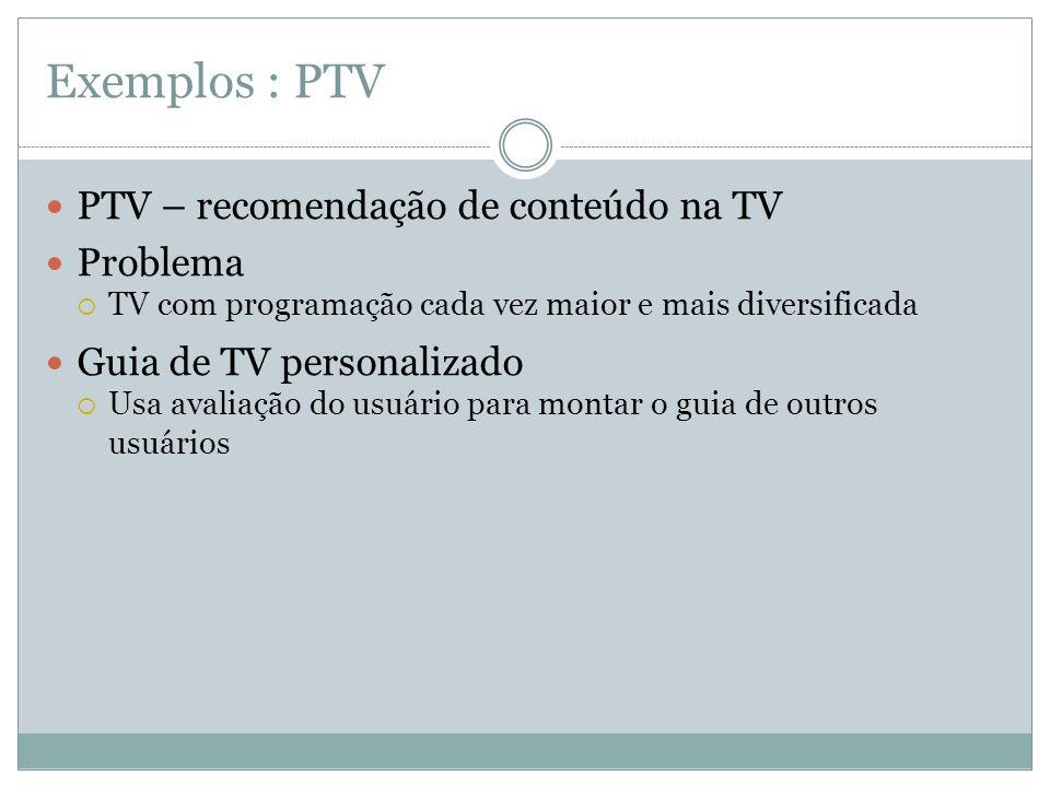 Exemplos : PTV PTV – recomendação de conteúdo na TV Problema TV com programação cada vez maior e mais diversificada Guia de TV personalizado Usa avali