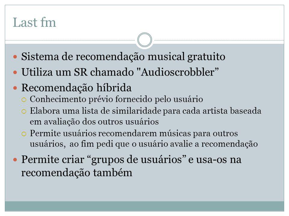 Last fm Sistema de recomendação musical gratuito Utiliza um SR chamado