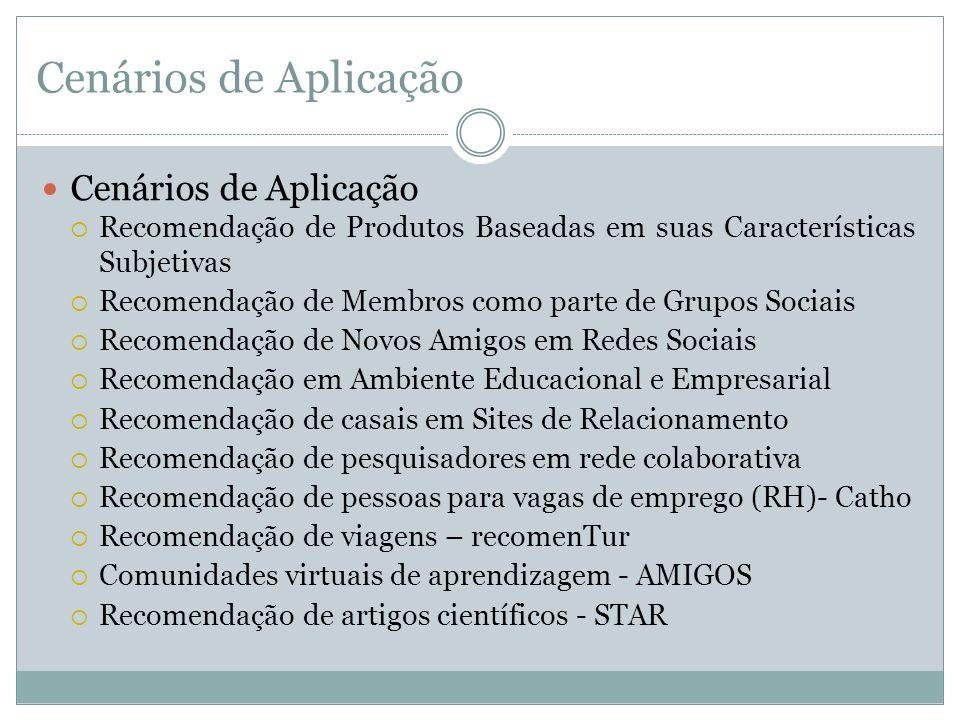 Cenários de Aplicação Recomendação de Produtos Baseadas em suas Características Subjetivas Recomendação de Membros como parte de Grupos Sociais Recome