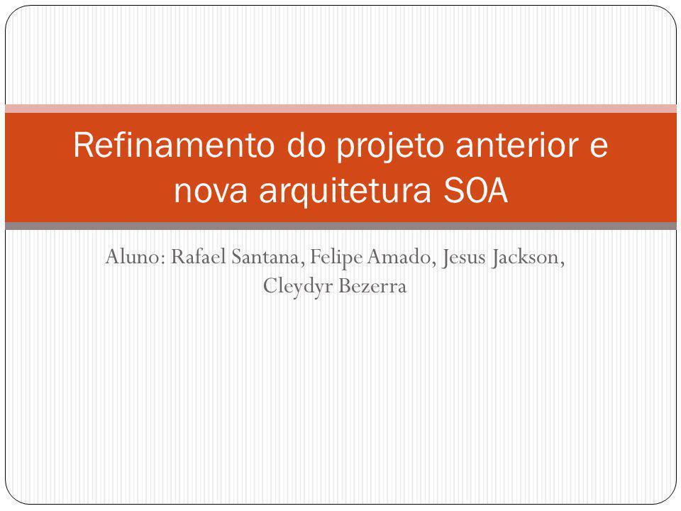 Aluno: Rafael Santana, Felipe Amado, Jesus Jackson, Cleydyr Bezerra Refinamento do projeto anterior e nova arquitetura SOA