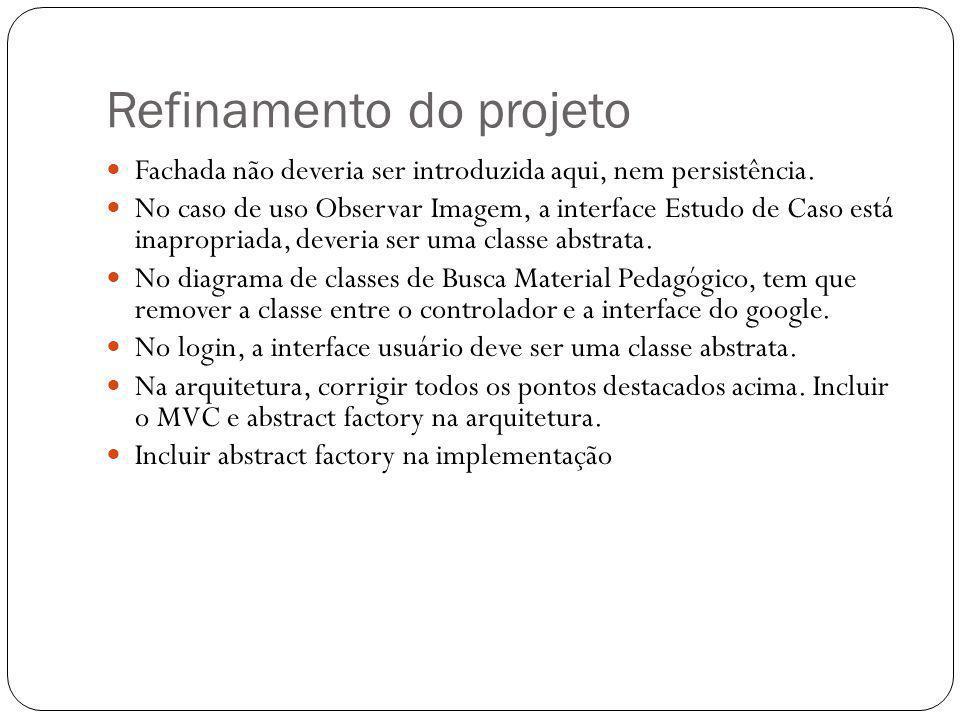 Refinamento do projeto Fachada não deveria ser introduzida aqui, nem persistência. No caso de uso Observar Imagem, a interface Estudo de Caso está ina