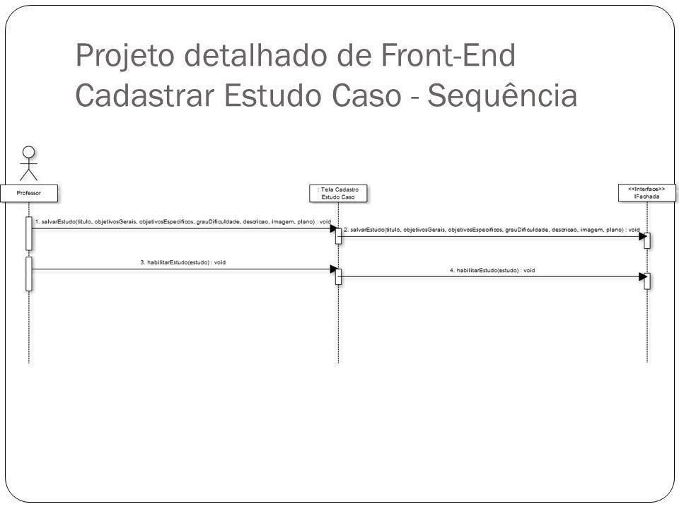 Projeto detalhado de Front-End Cadastrar Estudo Caso - Sequência