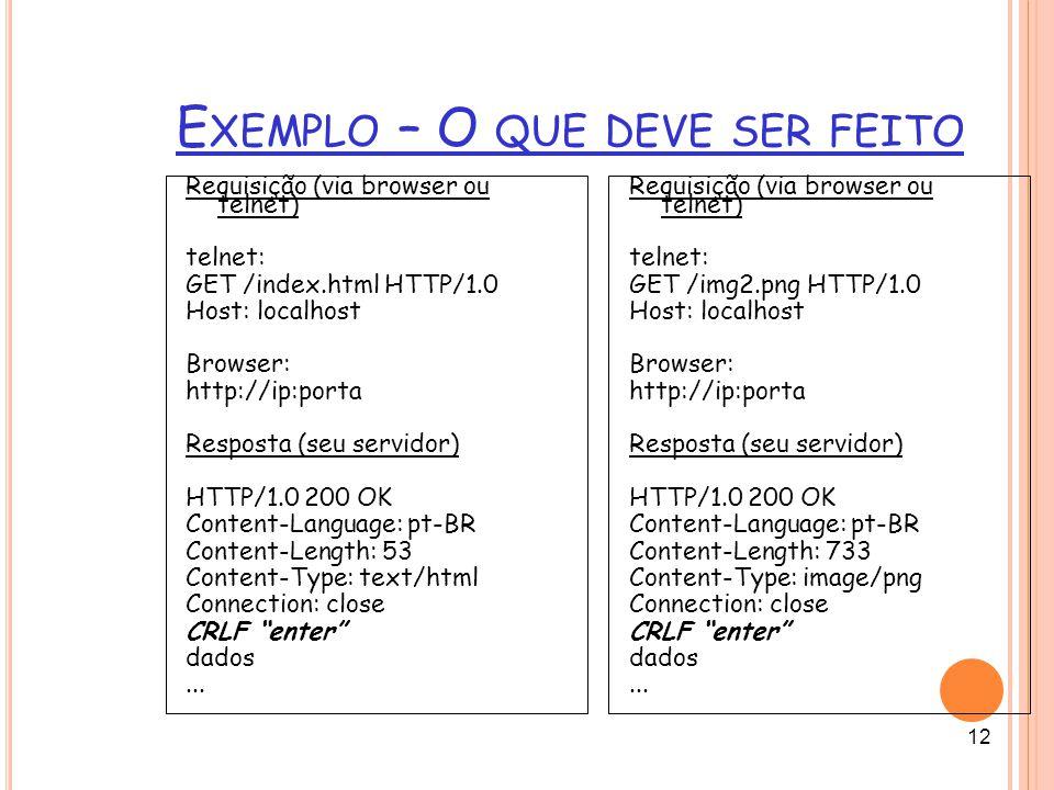12 E XEMPLO – O QUE DEVE SER FEITO Requisição (via browser ou telnet) telnet: GET /index.html HTTP/1.0 Host: localhost Browser: http://ip:porta Respos