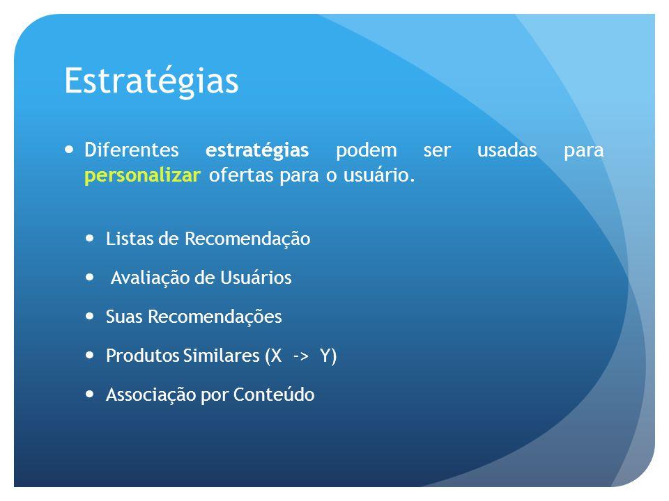 Estratégias Diferentes estratégias podem ser usadas para personalizar ofertas para o usuário.