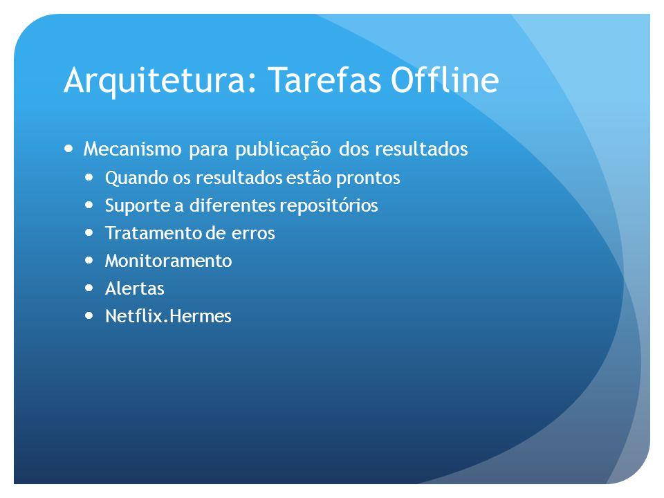 Arquitetura: Tarefas Offline Mecanismo para publicação dos resultados Quando os resultados estão prontos Suporte a diferentes repositórios Tratamento de erros Monitoramento Alertas Netflix.Hermes