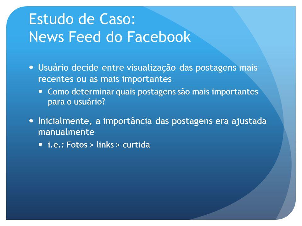 Estudo de Caso: News Feed do Facebook Usuário decide entre visualização das postagens mais recentes ou as mais importantes Como determinar quais postagens são mais importantes para o usuário.