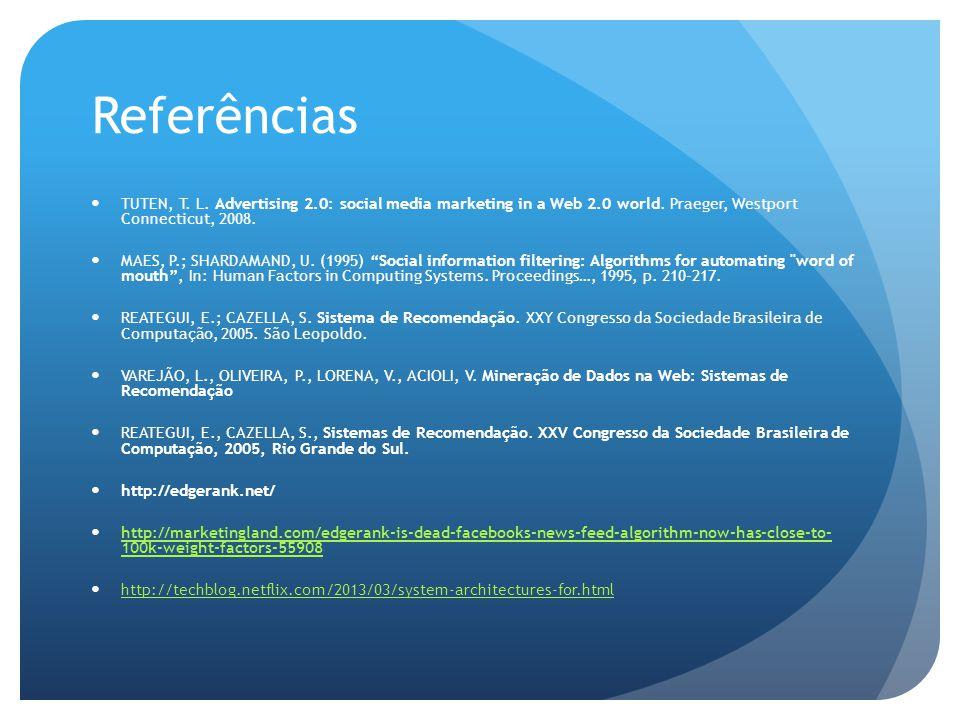 Referências TUTEN, T.L. Advertising 2.0: social media marketing in a Web 2.0 world.