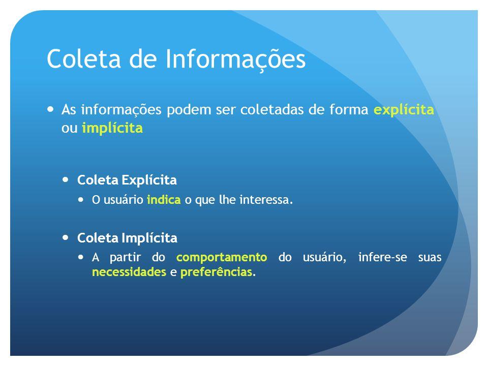 Coleta de Informações As informações podem ser coletadas de forma explícita ou implícita Coleta Explícita O usuário indica o que lhe interessa.