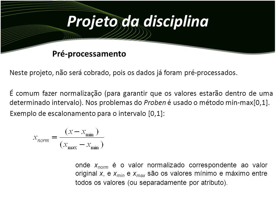 Projeto da disciplina Neste projeto, não será cobrado, pois os dados já foram pré-processados.