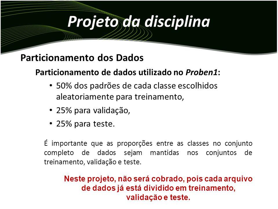 Projeto da disciplina Particionamento de dados utilizado no Proben1: 50% dos padrões de cada classe escolhidos aleatoriamente para treinamento, 25% para validação, 25% para teste.