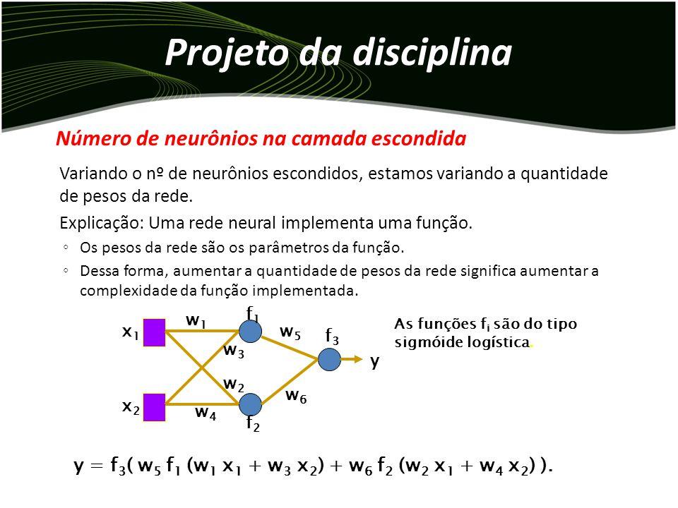Projeto da disciplina Variando o nº de neurônios escondidos, estamos variando a quantidade de pesos da rede.