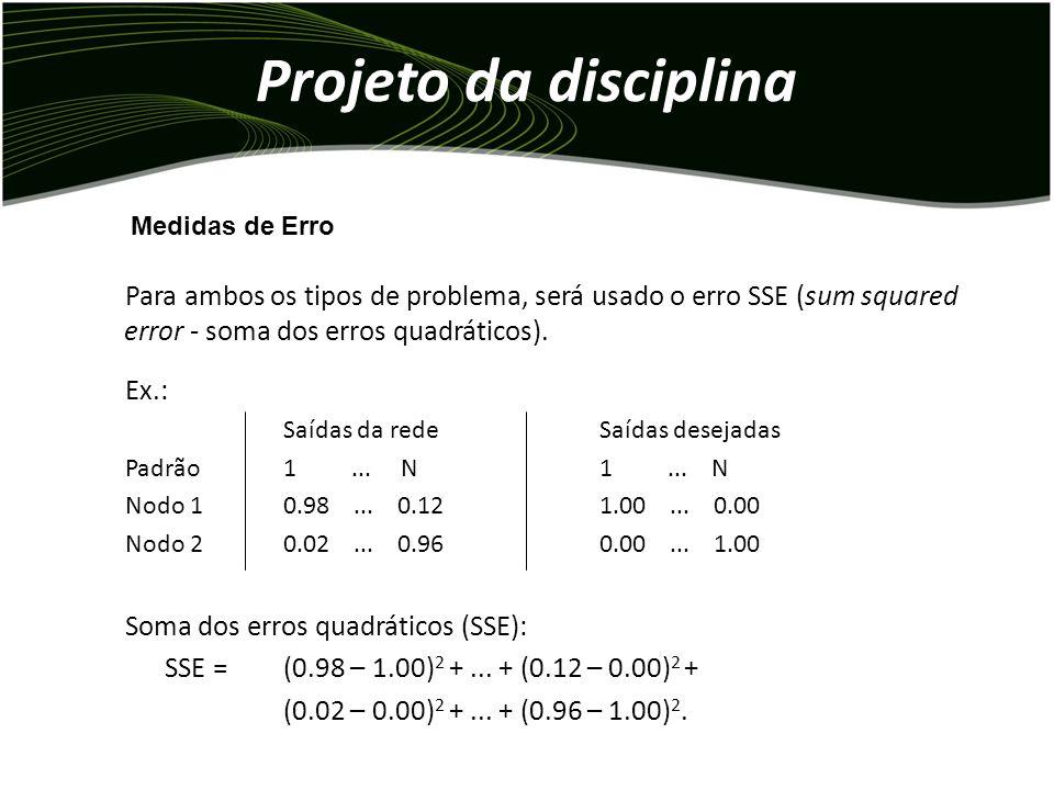 Projeto da disciplina Para ambos os tipos de problema, será usado o erro SSE (sum squared error - soma dos erros quadráticos).