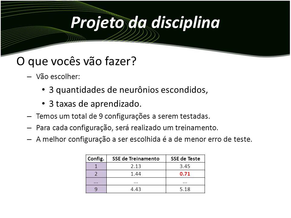 Projeto da disciplina – Vão escolher: 3 quantidades de neurônios escondidos, 3 taxas de aprendizado.