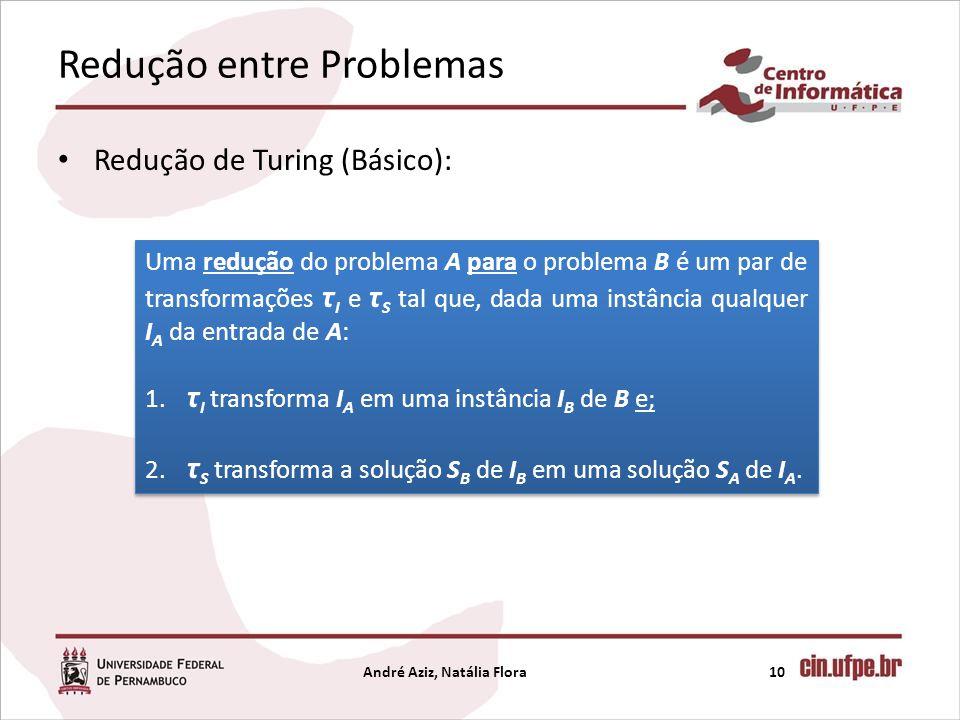 Redução entre Problemas Redução de Turing (Básico): André Aziz, Natália Flora10 Uma redução do problema A para o problema B é um par de transformações