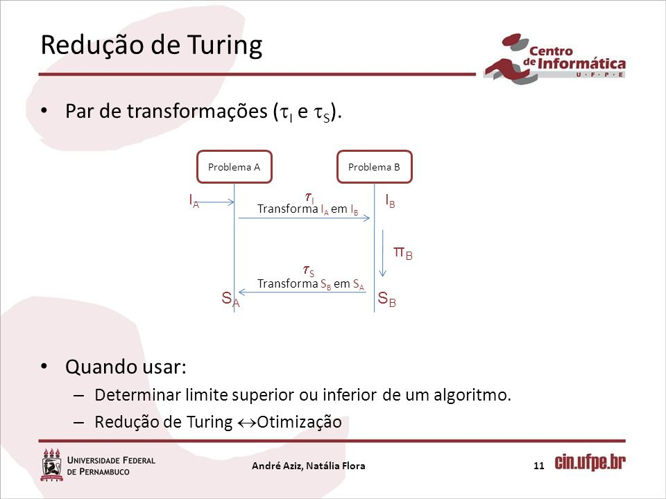 Redução de Turing Par de transformações ( I e S ). Quando usar: – Determinar limite superior ou inferior de um algoritmo. – Redução de Turing Otimizaç