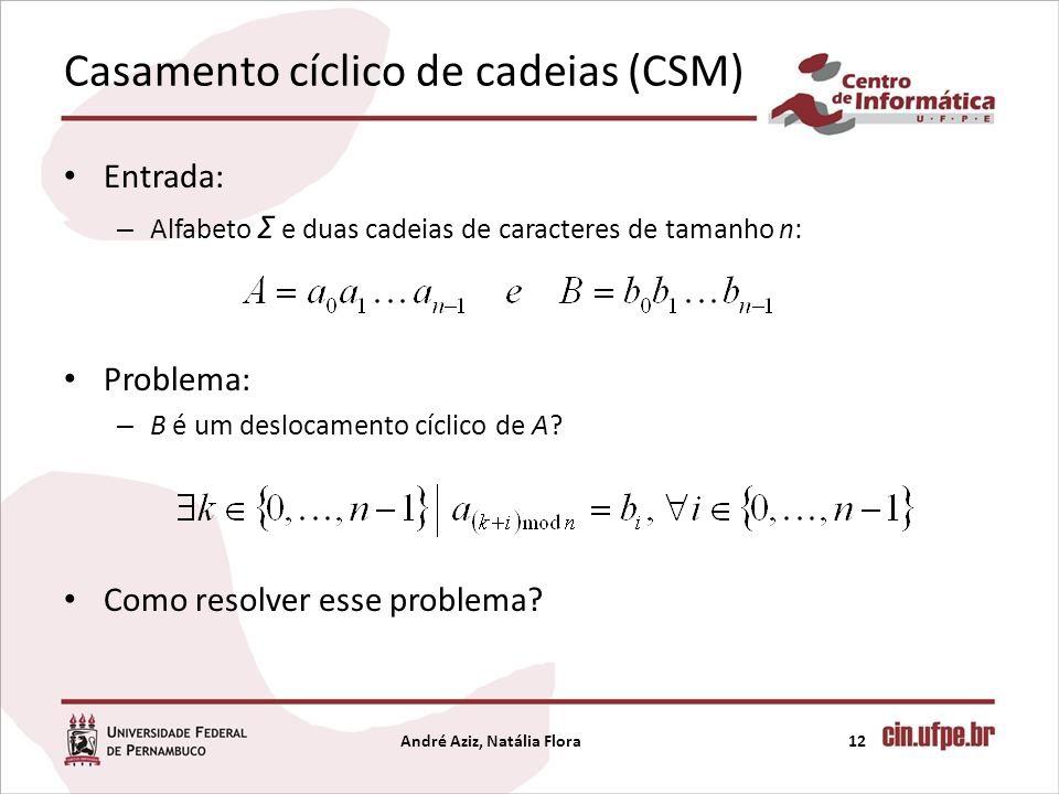Casamento cíclico de cadeias (CSM) Entrada: – Alfabeto Σ e duas cadeias de caracteres de tamanho n: Problema: – B é um deslocamento cíclico de A? Como
